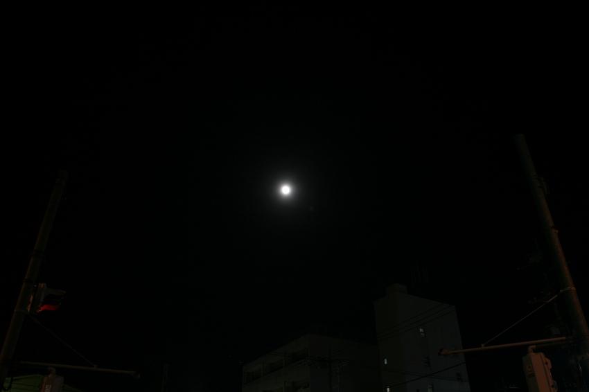 観望会の会場から見た月。