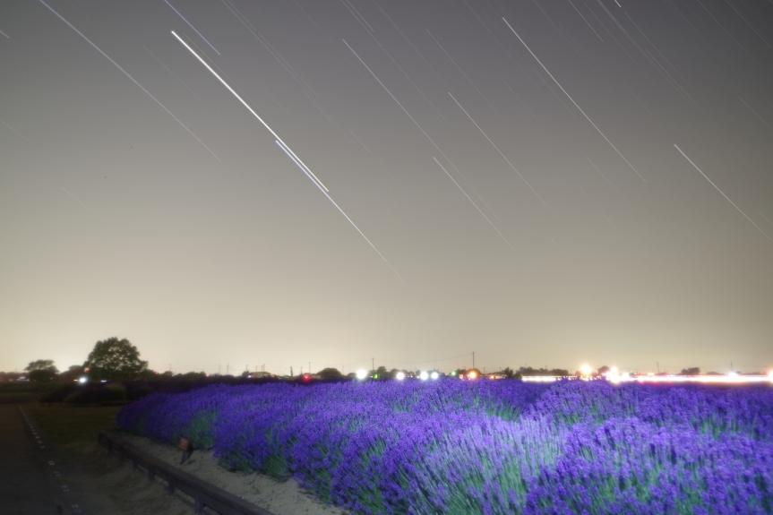 空が明るすぎて、沈むというよりfade-outしていきました。灰色の空が残念ですが、スピカと土星の星跡はきれいに出ました。 6/9 23:27- F=18mm f=3.5 SS=33秒 ISO=800 撮影地 久喜市菖蒲町
